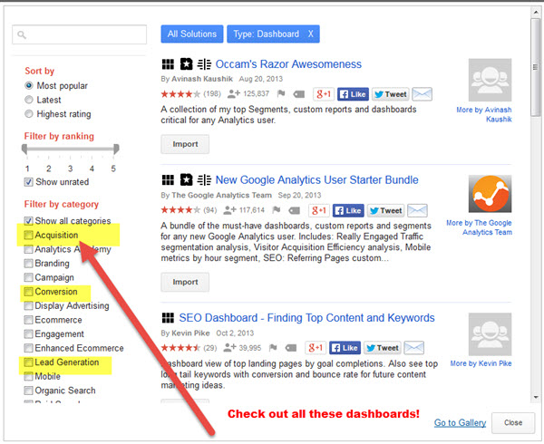 google analytics choices