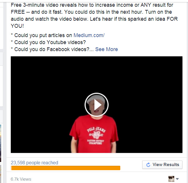 Video ads on Facebook .01 per view