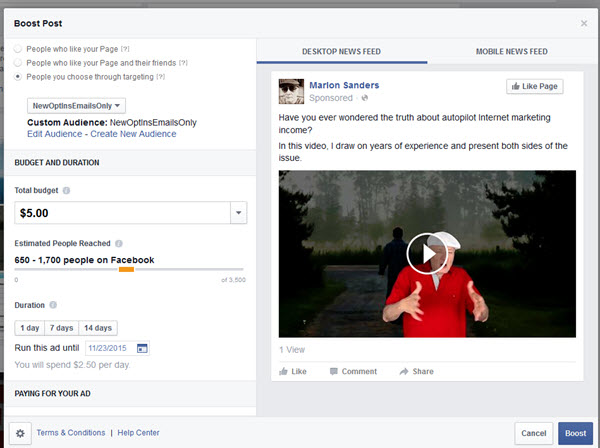 video ads on Facebook boost post
