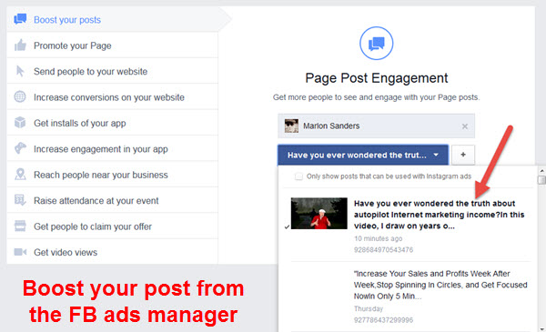 video ads using facebook ads manager